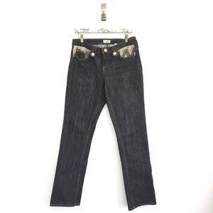Cache 8 Jeans Embellished Black Gold Dark